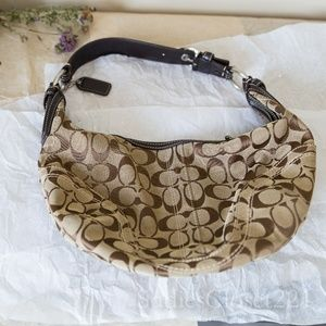 Coach Brown Signature Canvas Hobo Purse